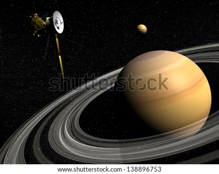 Cassini spacecraft near Saturn and titan satellite in the universe - Elements of this image furnished by NASA - stock photo