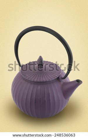 cast iron teapot for tea on a white background. picture in retro style - stock photo