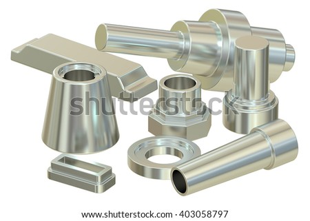 cast or forged steel (aluminum) parts, 3D rendering - stock photo