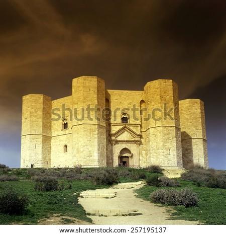 Castel del Monte in Italy, UNESCO World Heritage Site - stock photo