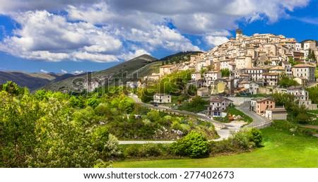 Castel del Monte - pictorial hilltop village in Abruzzo, Italy - stock photo