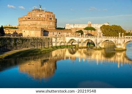 Castel Sant'angelo and Bernini's statue on the bridge, Rome, Italy. Palace of justice, (palazzaccio) on the background. - stock photo
