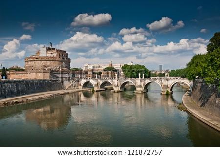 Castel Sant Angelo and Bernini's statues on the bridge, Rome, Italy - stock photo