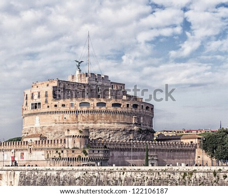 Castel Sant'angelo in rome, vatican italy, HDR - stock photo