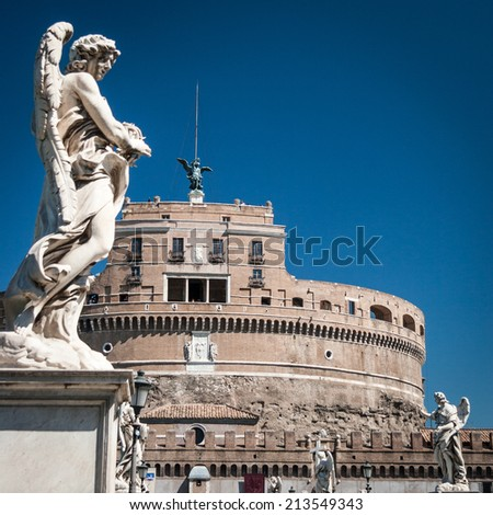 Castel Sant Angelo, Rome, Italy. A view over the Sant Angelo bridge which crosses the River Tiber from Rome city center to the Castel Sant'Angelo. - stock photo