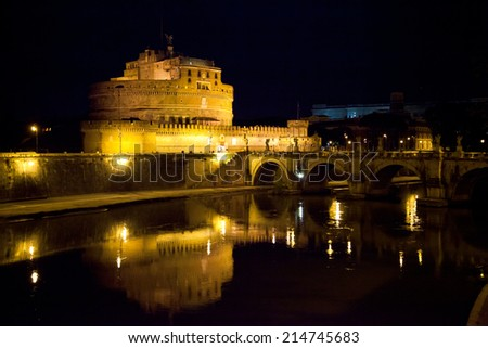 Castel santangelo at night - stock photo