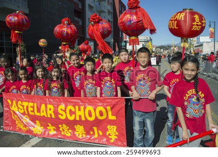Castelar School sign, 115th Golden Dragon Parade, Chinese New Year, 2014, Year of the Horse, Los Angeles, California, USA, 02.01.2014 - stock photo