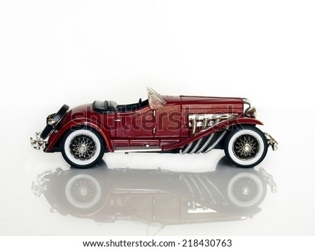 Castellon,Spain.September 20,2014 Collectible toy car over white background, Duesenberg J. Spider - stock photo