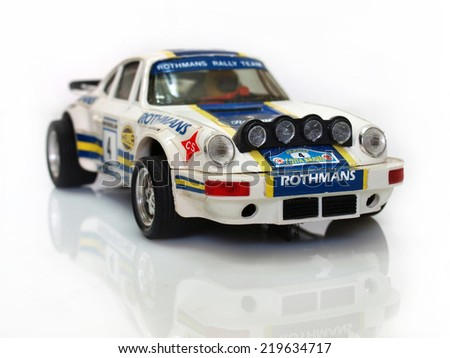 Castellon,Spain.September 25,2014.Small slot game car over white background - stock photo
