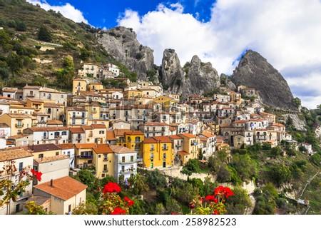 Castelmezzano - beautiful mountain village in Basilicata, Italy - stock photo