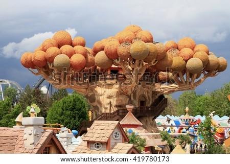 Castelnuovo del Garda, Italy - April 24 2016: Gardaland Theme Park in Castelnuovo Del Garda, Verona, Italy. - stock photo