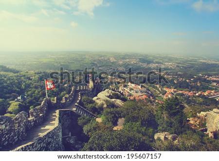 Castelo Dos Mouros, Sintra, Portugal . Vintage picture - stock photo