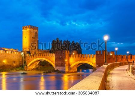 Castelvecchio in night illumination in Verona, Northern Italy. - stock photo