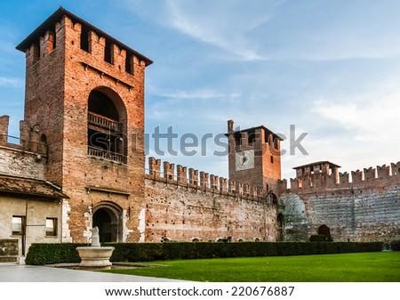 Castelvecchio in the City of Verona, Northern Italy - stock photo