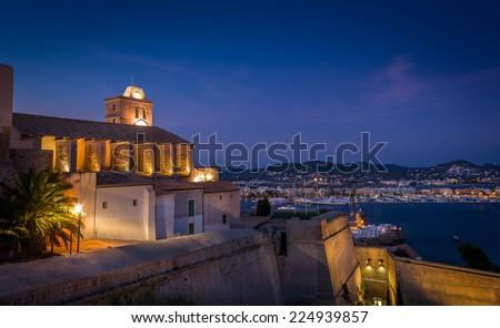 Castillo Almudaina in Dart Vila fortress. Santa Maria d' Eivissa cathedral. - stock photo