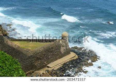 Castillo de San Cristobal Devil's Sentry Box, San Juan, Puerto Rico. Devil's Sentry Box is the oldest part of the Castillo. Castillo de San Cristobal is designated as UNESCO World Heritage Site - stock photo