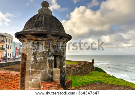 Castillo de San Cristobal in San Juan, Puerto Rico. It is designated as a UNESCO World Heritage Site since 1983. It was built by Spain to protect against land based attacks on the city of San Juan. - stock photo