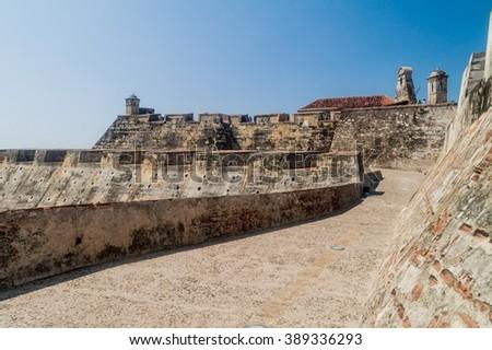 Castillo de San Felipe de Barajas castle in Cartagena de Indias, Colombia. - stock photo