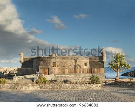 Castillo de San Juan, fortress from 1643 protected the harbor in ancient times, city Santa Cruz de Tenerife, Canary Islands, Spain - stock photo