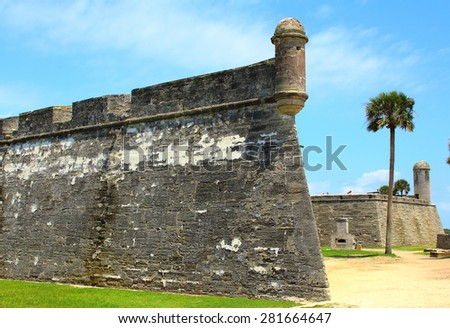 Castillo de San Marcos in St. Augustine, Florida. ancient fort  - stock photo