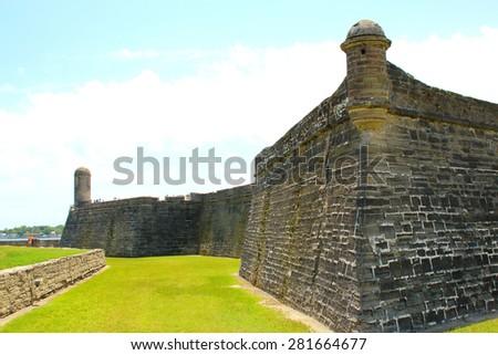 Castillo de San Marcos in St. Augustine, Florida. ancient fort  - stock photo
