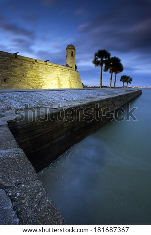 Castillo de San Marcos in St. Augustine, sunset time. - stock photo