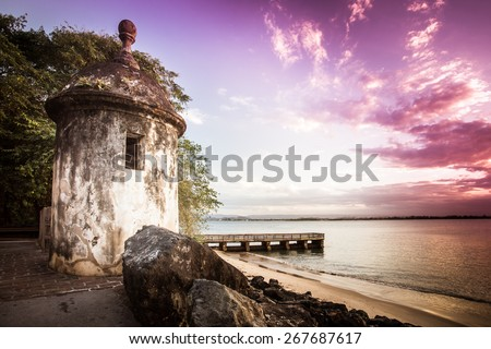 Castillo del Morro Old San Juan Puerto Rico at sunset - stock photo