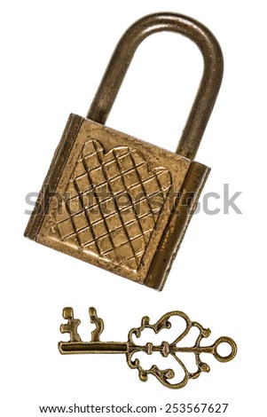 Castle and key, the private key elements of the security system, isolated on white background - stock photo