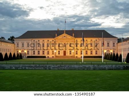 Castle Bellevue in Berlin at dusk - main entrance - stock photo
