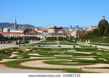 Castle Belvedere gardens in Vienna, Austria. The Old Town is a UNESCO World Heritage Site. - stock photo