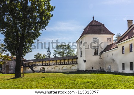 "Castle built in 1594-1606 by founder of town Stanislaw Zolkiewski. Zhovkva is a center of Zhovkivskyi district in Lviv region, Western Ukraine. Zhovkva was planned as an ""ideal city"" of Renaissance. - stock photo"