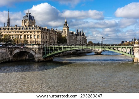 Castle Conciergerie - former royal palace and prison. Conciergerie located on west of the Cite Island and today it is part of larger complex known as Palais de Justice. Paris, France.  - stock photo