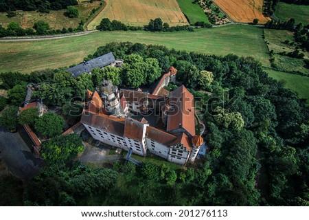 Castle - Germany - aerial photo - stock photo