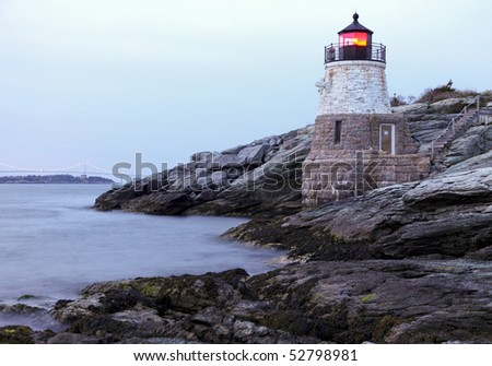Castle Hill Lighthouse in Newport Rhode Island at sunset - stock photo