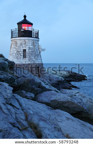Castle Hill Lighthouse in Newport Rhode Island just before dawn - stock photo