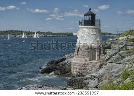 Castle Hill Lighthouse, Newport, Rhode Island - stock photo