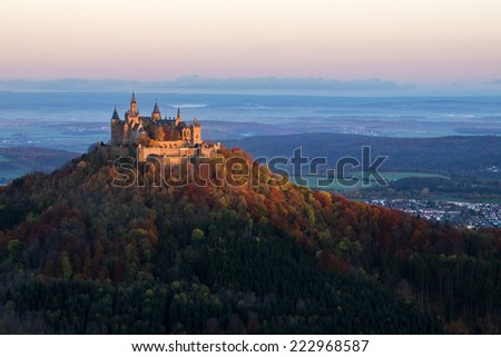Castle Hohenzollern in Autumn at sunrise - stock photo