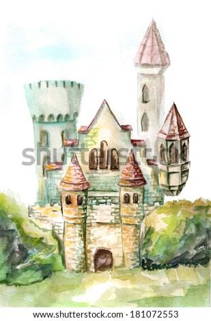 castle in a landscape - stock photo