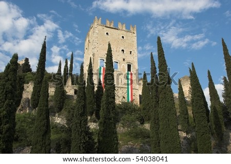 Castle in Arco, Garda lake, Italy - stock photo