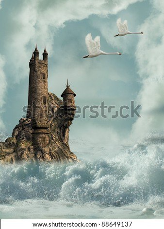 castle in the ocean with swans and waves - stock photo