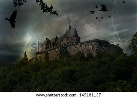 Castle in thunderstorm - stock photo