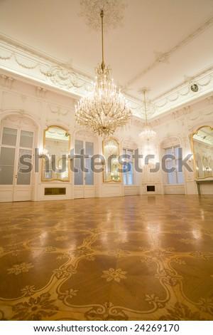 castle interior, mirror room - stock photo