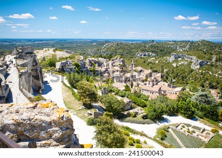 Castle Les Baux de-Provence, Provence, France on warm sunny day. - stock photo