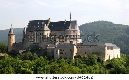 Castle located in Luxembourg in the small town of Vianden - stock photo