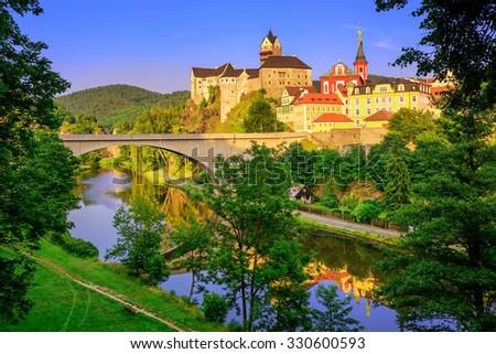 Castle Loket int the near of Karlovy Vary, Czech Republic - stock photo