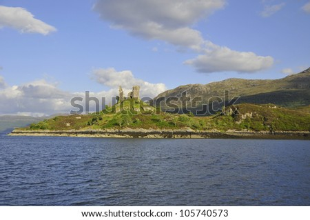 Castle Moil, Kyleakin, Isle of Skye, Scotland .In the late 15th century Clan Mackinnon moved from their earlier base at Dun Ringill, near Elgol, to this castle at Kyleakin. - stock photo