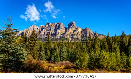 Castle Mountain in the Fall in Banff National Park in the Rocky Mountain, Alberta, Canada - stock photo