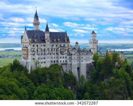 Castle Neuschwanstein in Bavarian Alps - stock photo