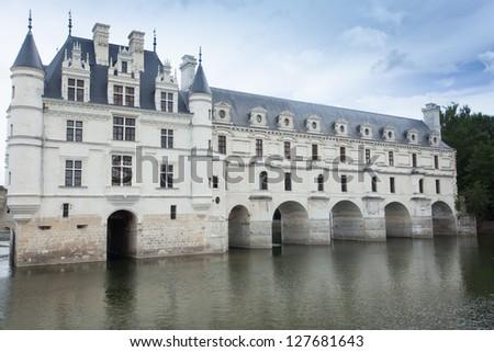 castle of  chenonceau  loire - stock photo