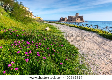 Castle of Le Castella at Capo Rizzuto, Calabria (Italy) - stock photo